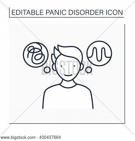 Psychological Treatment Line Icon. Cognitive Behavioral Therapy. Talk Therapy. Help To Fight Fear An