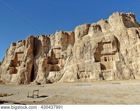 View On Naqsh-e Rustam Or Rustam Reliefs, Rock Necropolis Of Persian Kings Featuring Tombs Of Xerxes
