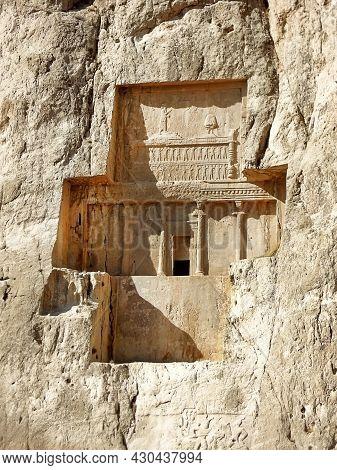 Cross-formed Tomb Of Persian King Artaxerxes I In Naqsh-e Rostam, Near Persepolis, Iran. Relief Depi