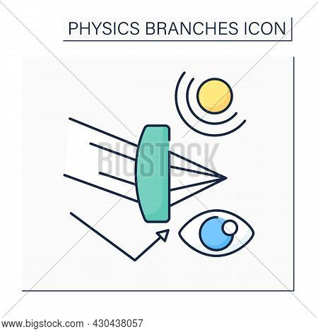 Optics Color Icon. Optical Radiation. Light Behavior And Properties. Ultraviolet, And Infrared Light