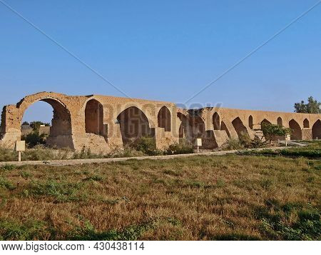 Ruins Of Band-e Kaisar Or Bridge Of Valerian, Ancient Arch Bridge, Shushtar, Iran. Built In 3 Centur