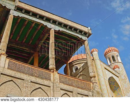 Close View On Mosque Hazrati Xizr And Its Minaret In Samarkand, Uzbekistan. Building Of Mosque Built