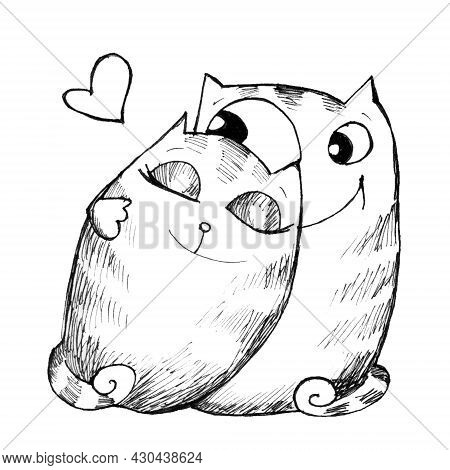 Love Cats, Cute Black And White Illustration On A White Background, Sketch Of Two Cats In Love