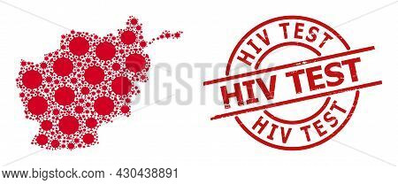 Textured Hiv Test Stamp Seal, And Covid Virus Mosaic Of Afghanistan Map. Red Round Stamp Seal Contai
