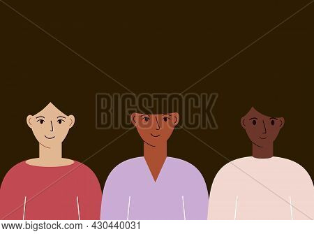 Vector Illustration Of Multiethnic Women. The Concept Of The Unity Of Women. Women's Day