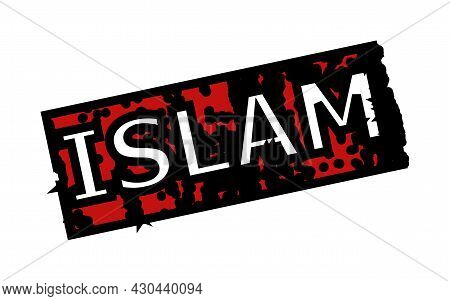 Red And Black Islam Rectangle Watermark. Islam Text Is Inside Rectangle Shape. Rough Islam Watermark