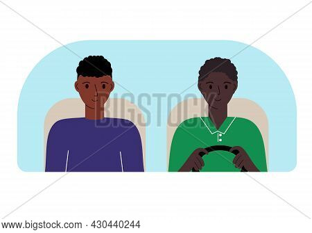 Vector Illustration Of Two Men In The Car Behind The Windshield.