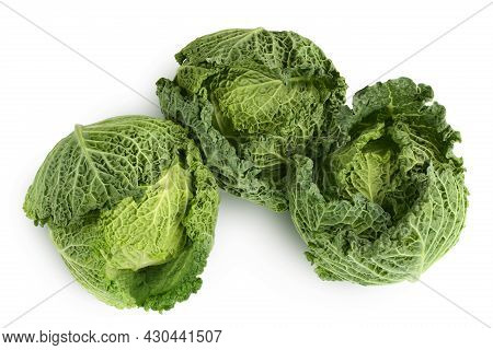 Savoy Cabbage Isolated On White Background With Clipping Path And Full Depth Of Field. Top View. Fla