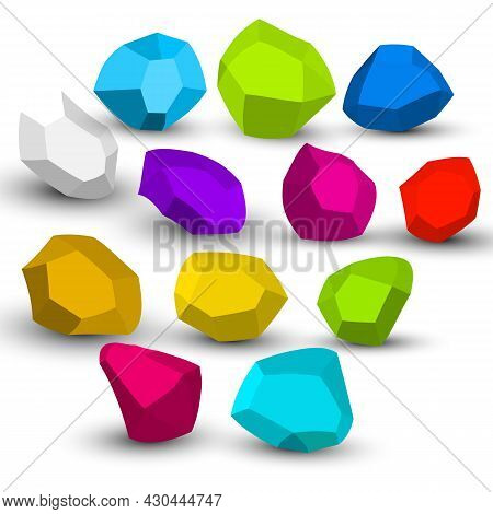 Cartoon Stones. Rock Stone Isometric Set. Colorful Boulders, Natural Building Block Shapes, Wall Sto