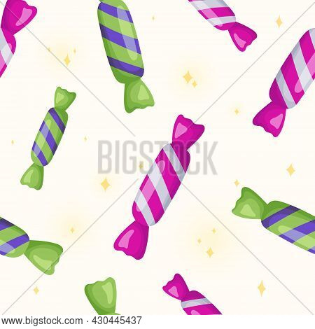 Vector Seamless Pattern With Candies In A Shiny Striped Wrapper.