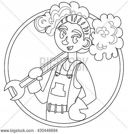 Vector Colorless Outline Icon Of A Girl - Mechanic