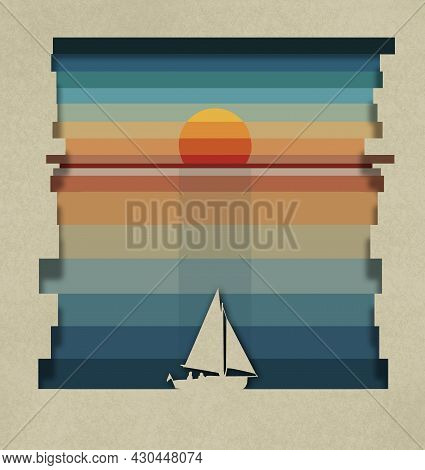 Pastel Colored Stripes Are Seen In This 3-d Illustration Of A Sailboat Sunset. This Is Done As A Pap