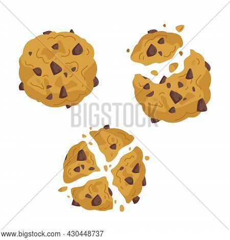 Set Of Freehand Drawings Of Oatmeal Cookies With Chocolate Pieces. Bitten Cookies For Dessert Illust