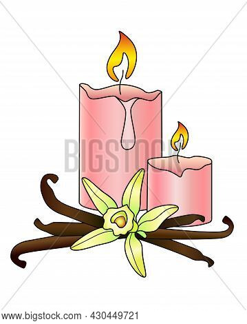 Candles And Vanilla - Aromatherapy, Antistress - Vector Full Color Illustration. Scented Pink Candle