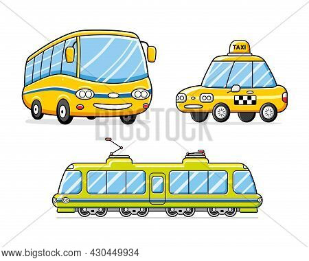 Bus, Taxi Cab, Train Or Tram Isolated. Public City Transport Vector Set.