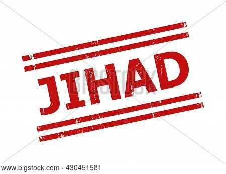 Red Jihad Seal Stamp. Jihad Seal With Parallel Double Line Elements. Rough Jihad Seal Stamp In Red C