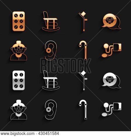 Set Hearing Aid, Grandfather, Blood Pressure, Walking Stick Cane, Grandmother, Crutch Or Crutches, P