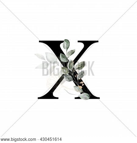 Capital Letter X Decorated With Golden Flower And Leaves. Letter Of The English Alphabet With Floral