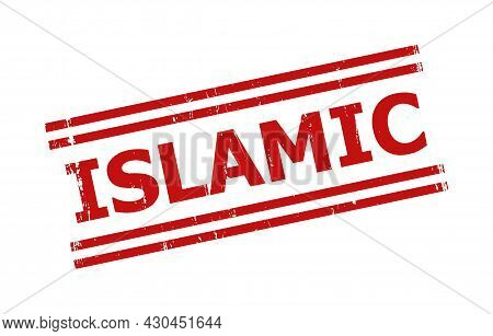 Red Islamic Watermark. Islamic Seal Stamp With Parallel Double Line Elements. Rough Islamic Seal Sta