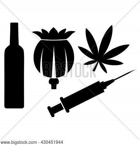 Addiction Drugs Icon With Flat Style. Isolated Raster Addiction Drugs Icon Image On A White Backgrou