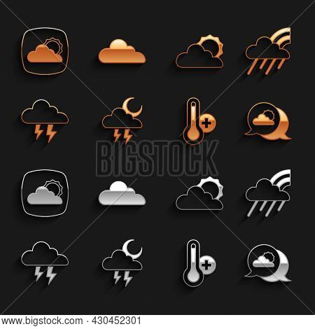 Set Storm, Rainbow With Cloud And Rain, Location, Meteorology Thermometer, Sun Weather, Weather Fore