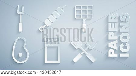 Set Matchbox And Matches, Barbecue Steel Grid, Steak Meat, Crossed Fork Spatula, Grilled Shish Kebab