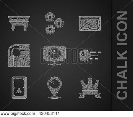 Set Location With Billiard Ball, Bowling, Bowling Pin, Billiard, Table, And Icon. Vector