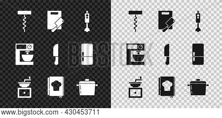 Set Wine Corkscrew, Cutting Board And Meat Chopper, Blender, Manual Coffee Grinder, Cookbook, Cookin