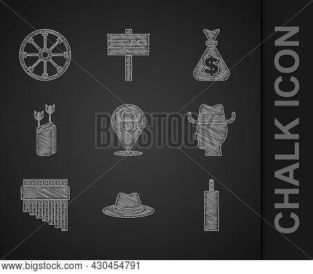 Set Location Cowboy, Western Hat, Dynamite Bomb, Cowboy, Pan Flute, Quiver With Arrows, Money Bag An