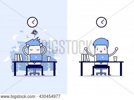 Businessman Finish Working And Busy Businessman Unfinished Work. Cartoon Character Thin Line Style V