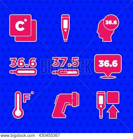 Set Medical Thermometer, Digital, Meteorology, And Celsius Icon. Vector