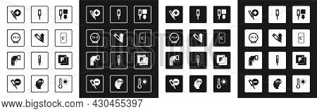 Set Digital Thermometer, Medical, Celsius, Fahrenheit And Icon. Vector