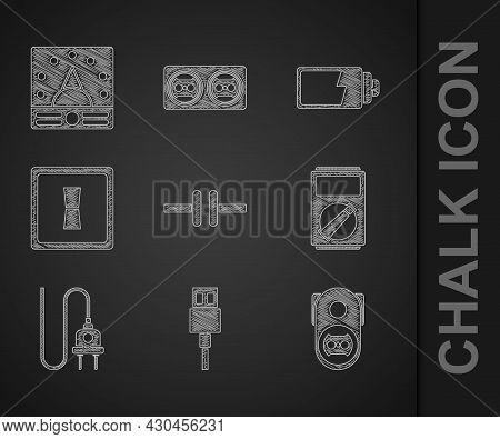 Set Electric Circuit Scheme, Usb Cable Cord, Electrical Outlet, Multimeter, Plug, Light Switch, Batt