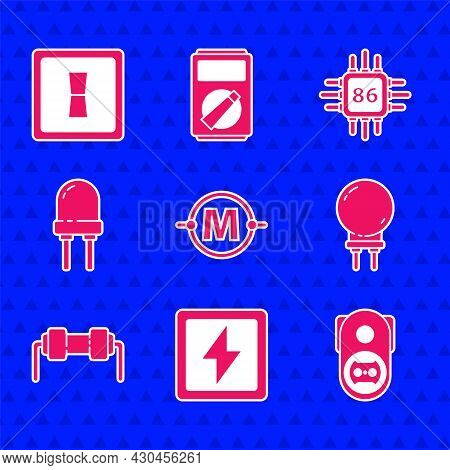 Set Electric Circuit Scheme, Lightning Bolt, Electrical Outlet, Emitting Diode, Resistor Electricity