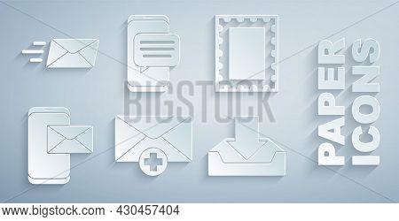 Set Received Message Concept, Postal Stamp, Mobile And Envelope, Download Inbox, Chat Messages Notif