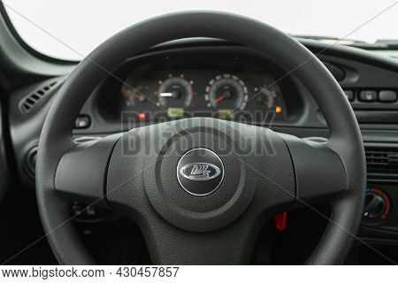 Novosibirsk, Russia - July 28, 2021:  Niva Travel, Cockpit Interior Cabin Details, Speedometer And T