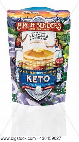 Winneconne, Wi -20 August 2021:  A Package Of Birch Benders Keto Protein Pancake Mix On An Isolated