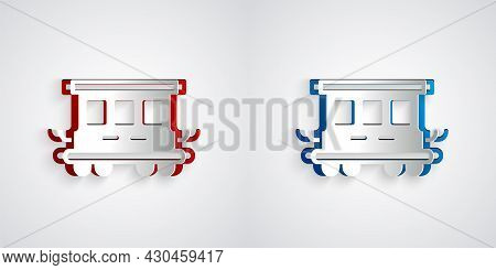 Paper Cut Passenger Train Cars Toy Icon Isolated On Grey Background. Railway Carriage. Paper Art Sty