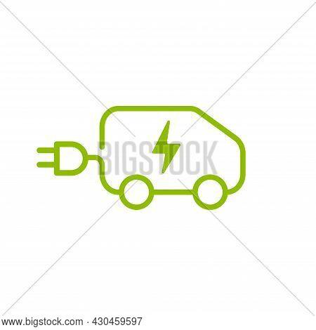 Electric Car With Plug Icon Symbol, Ev Car, Eco Friendly Vehicle Vector.