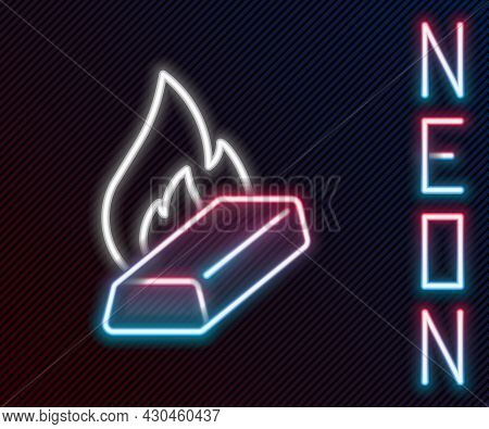 Glowing Neon Line Molten Gold Being Poured Icon Isolated On Black Background. Molten Metal Poured Fr