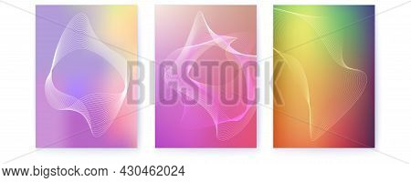 Set Of Covers. Abstract Shapes With Turbulent Curved Lines. Blended Lines On Multiple Colored Backgr