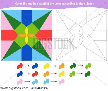 Game For The Development Of Logical Thinking. Color The Rug By Changing The Color According To The S