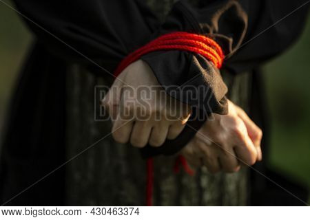 Female Hands Tied With A Red Rope. The Victim Is In The Woods By The Tree. Crime And Aggression. Clo