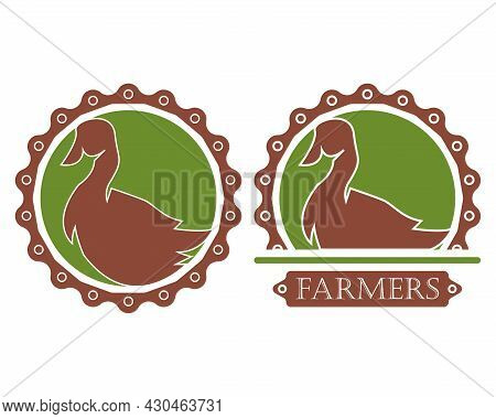 Vector Illustration Of A Swan In A Serrated Circle, Great For Logos And Icons, Farms, Food, Restaura