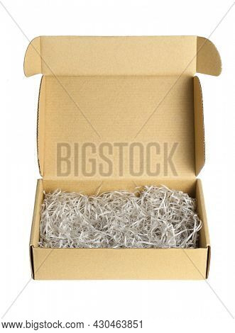Shredded Papers in Brown Box on White Background