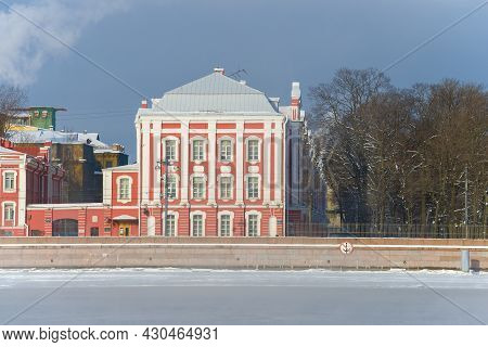 Saint Petersburg, Russia - February 15, 2021: Ancient Building Of 12 Colleges (currently One Of The