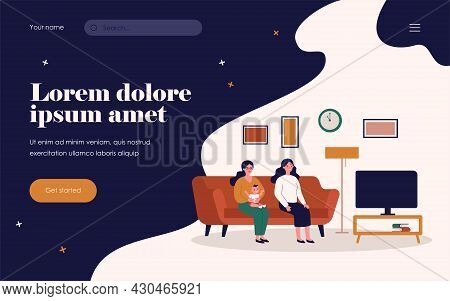 Two Women And Kid Watching Tv. Gay Parents, Friends, Mother With Baby Flat Vector Illustration. Fami