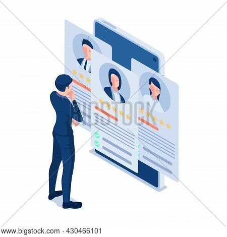 Flat 3d Isometric Businessman Looking At Online Resume On Smartphone. Online Resume And Recruitment
