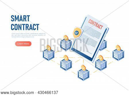 3d Isometric Web Banner Smart Contract In The Center Of Blockchain Technology. Blockchain Smart Cont
