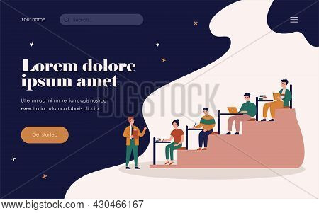 College Students Sitting In Class Room And Writing Or Typing Flat Vector Illustration. Cartoon Teach